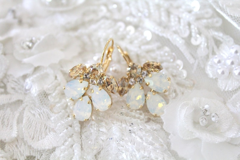 Crystal Bridal earrings White opal earrings Bridal jewelry image 0