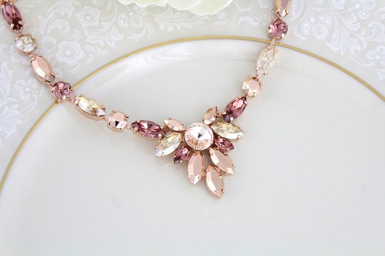 Rose gold Bridal necklace Blush Bridal jewelry Swarovski image 0