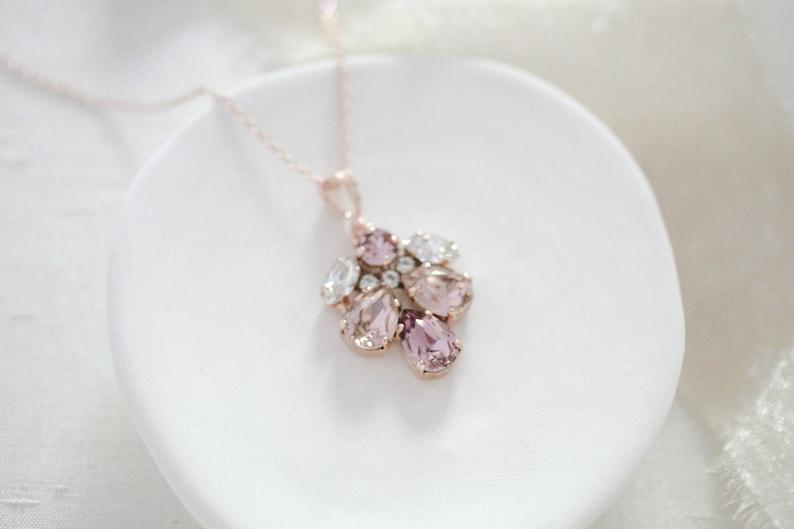 Rose gold Bridal necklace Bridal jewelry Swarovski crystal image 0