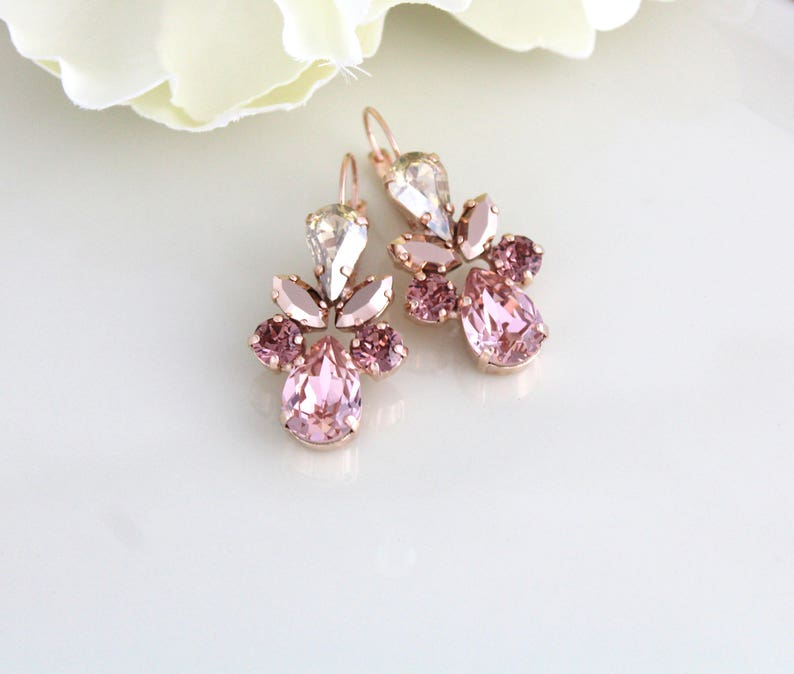 Rose gold earrings Bridal earrings Bridal jewelry Blush image 0