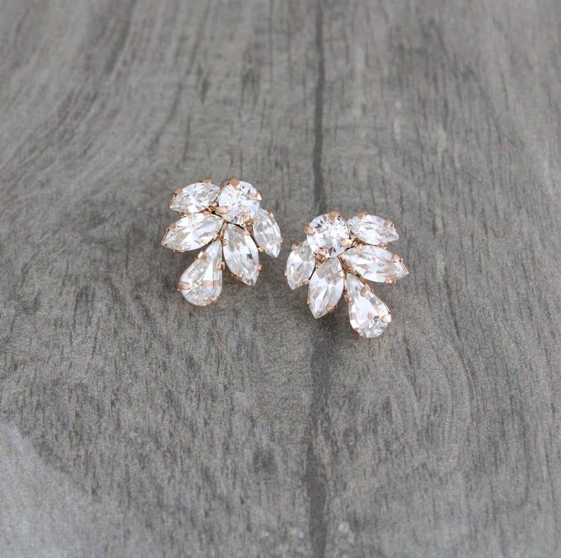 Rose gold Stud earrings Simple Bridal earrings Bridal jewelry image 0