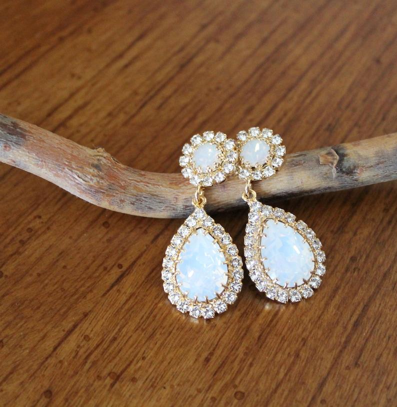 b832a7d2456356 Opal Bridal earrings Bridal jewelry Swarovski Crystal earrings   Etsy