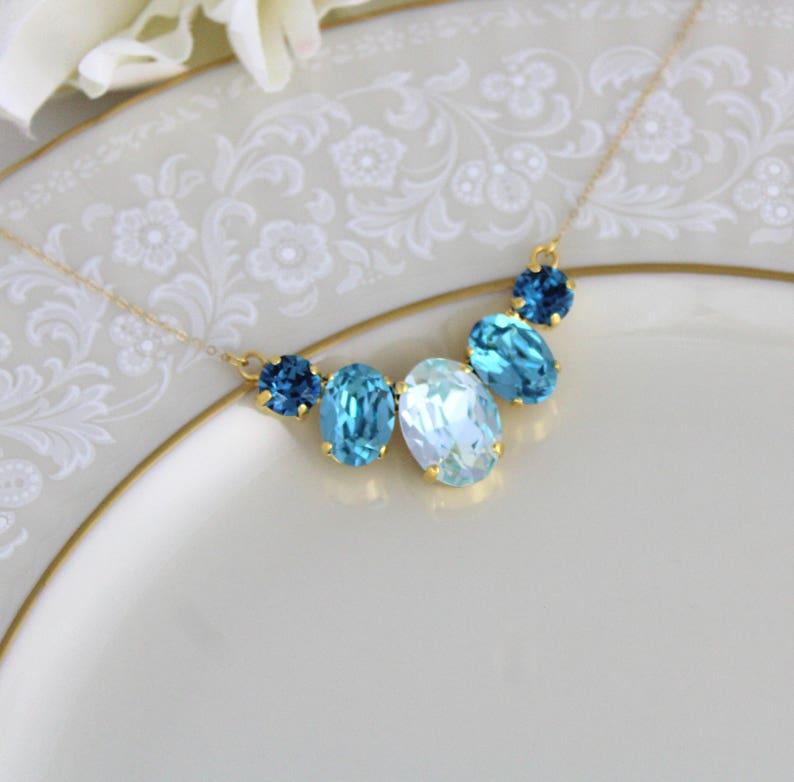 Swarovski Turquoise blue necklace Gold Bridal necklace image 0