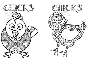 5 Coloring Pages 10 Total Drawings Farm Animal Chickens Page Animals Barn Draw Zentangle Kids