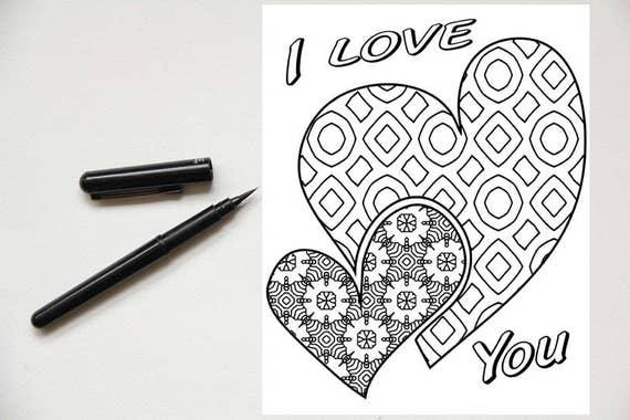 Ich Liebe Dich 2 Herzen Malvorlagen Etsy