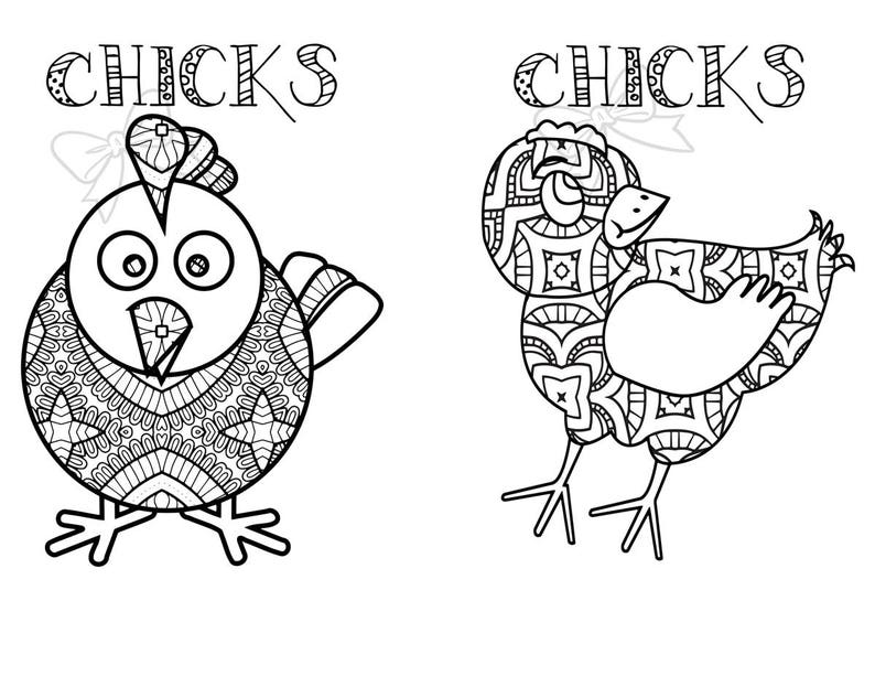 5 Coloring pages 10 total drawings farm animal chickens   Etsy