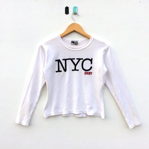 Vintage DKNY Big Logo Cropped Top LS Shirt   Donna Karan New  4d43772e4