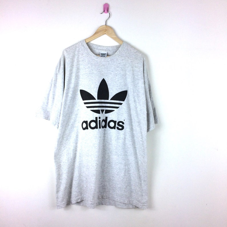 cb22b60a2c837 Vintage Adidas Trefoil Shirt / Big Logo Double Sided Print Shirt / Three  Stripes No Hype / Hip Hop / Rap / Adi Tees