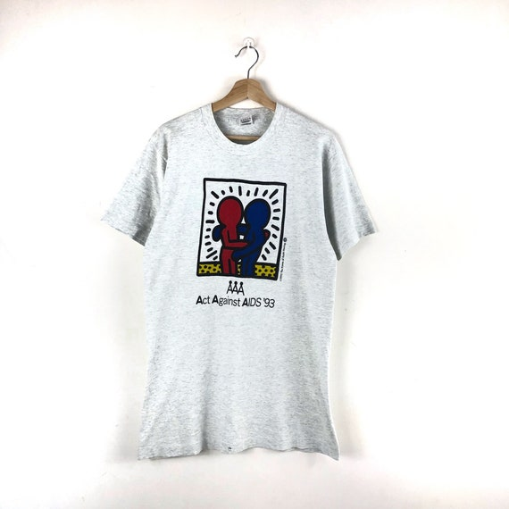 Vintage Keith Haring Shirt / Act Against Aids / Po