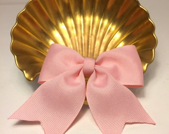 Handmade Ribbon Hair Bow in Pink with tails