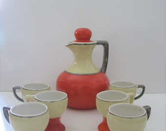 Coorsite No 806 Pitcher & 6 Matching Cups No 814