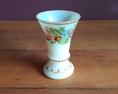 Antique 18th Century Milk Glass Opaline Beaker Cup Vase Floral Decorations Handpainted 18th Century France or Bohemia