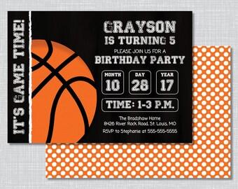 Basketball Birthday Party Invitations, Basketball Birthday Party, Birthday Party Invite, Basketball Invitations, BP1007