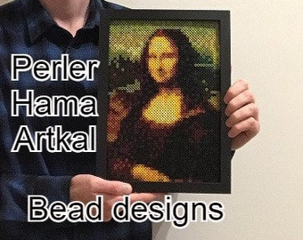 Mona Lisa Hama / Perler / Artkal Bead Design   DIY Pixel Art Pattern   Hama Beads   Perler Beads   Artkal Beads
