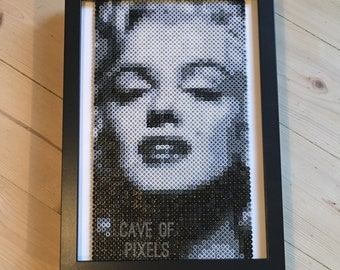 Marilyn Monroe Pixel Art   Gamer Gift   Perler Beads   Hama Beads   Music Art   Anniversary Gift   Pop Art