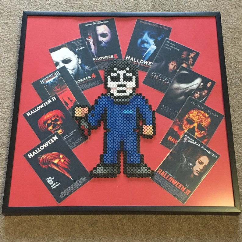 Halloween Michael Myers pixel art framed 32x32cm (Perler Beads & Hama  Beads) horror movie posters  Great for games room / man cave