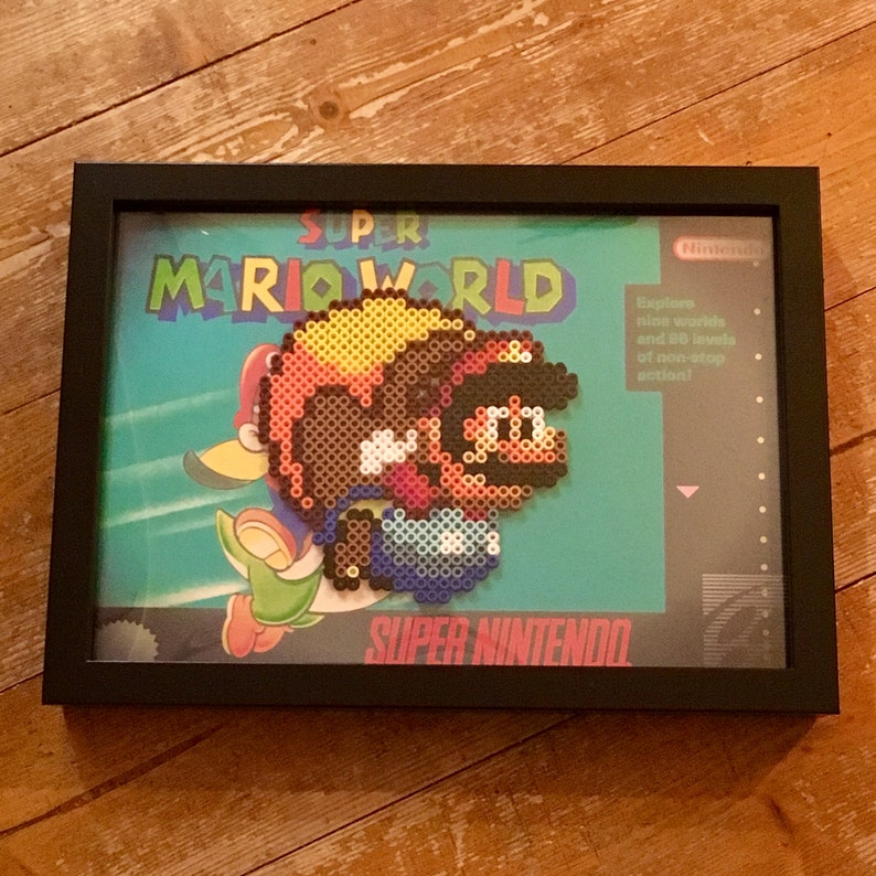 Super Mario World Nintendo pixel art sprite in 21x30cm (A4) frame  Great  for games room / man cave