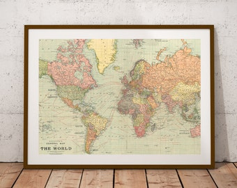 World map print etsy world map world map printntage world map posterp digital printrsery wall art print map posterntage map decor 10x8 inches gumiabroncs Gallery
