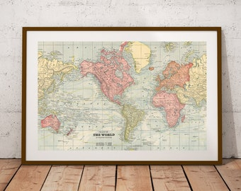 World map poster etsy world map world map printp digital printntage world map posterrsery wall art print map posterntage map decor 19x12 inches gumiabroncs Image collections