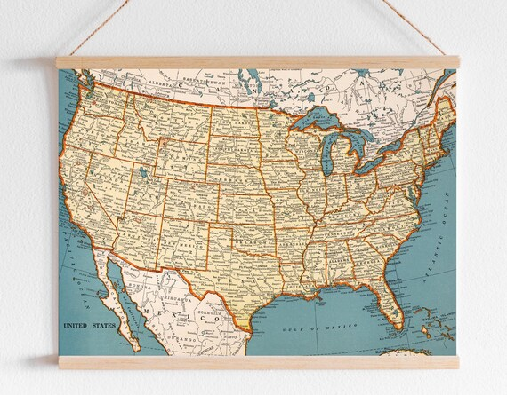 Vintage United States of America printable map. North America map print.  Antique school digital map poster. US Map poster.