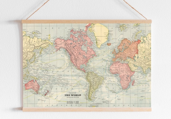 Antique World Map Digital Printable Poster Map Poster For Etsy