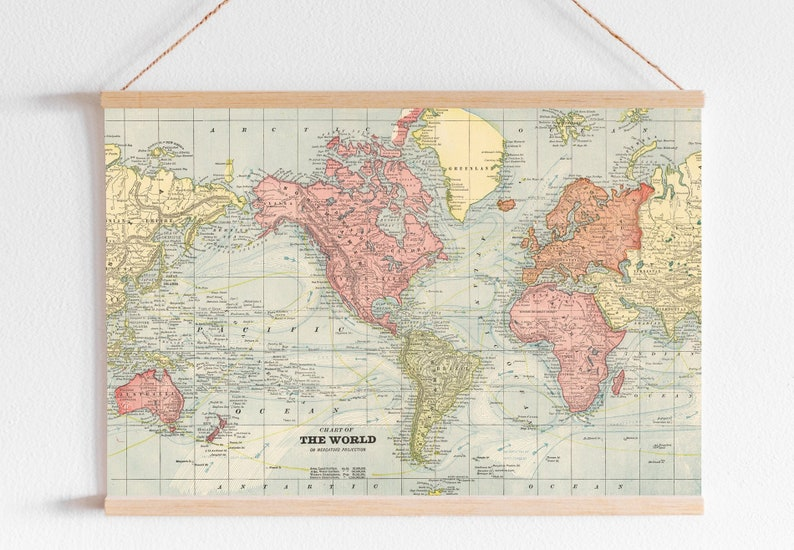 Antique World Map Digital printable poster. Map Poster for kids nursery  room wall. Vintage Atlas print for office decoration.