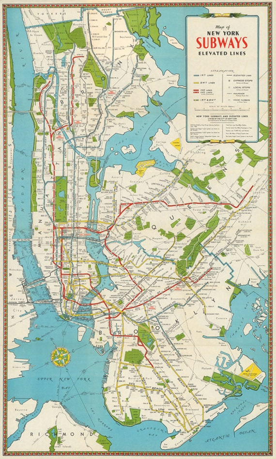 New York City by Night NYC Antique Vintage Pictorial Map