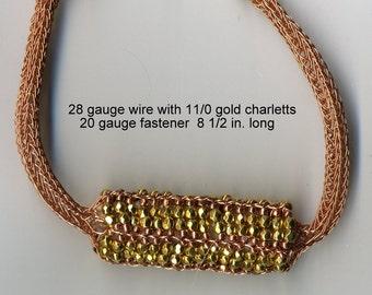 Viking Knit Bracelet, wire knit bracelet, Gold Charlotte beads, wire jewelry - 8 1/2 inches