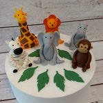 Fondant Safari Animals Cake Toppers- Fondant Animals Fondant Jungle Animals- Fondant Zebra Giraffe Lion Monkey Hippo Elephant - Safar Party
