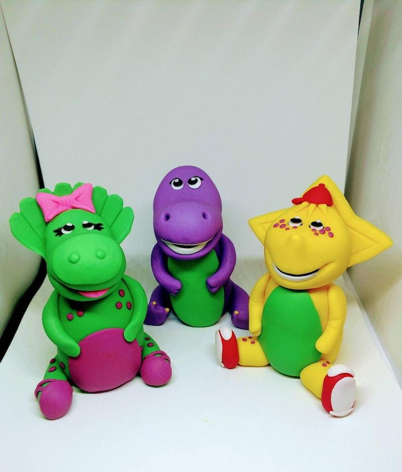 Astonishing Barney And Friends Cake Toppers Fondant Barney Fondant Etsy Personalised Birthday Cards Xaembasilily Jamesorg