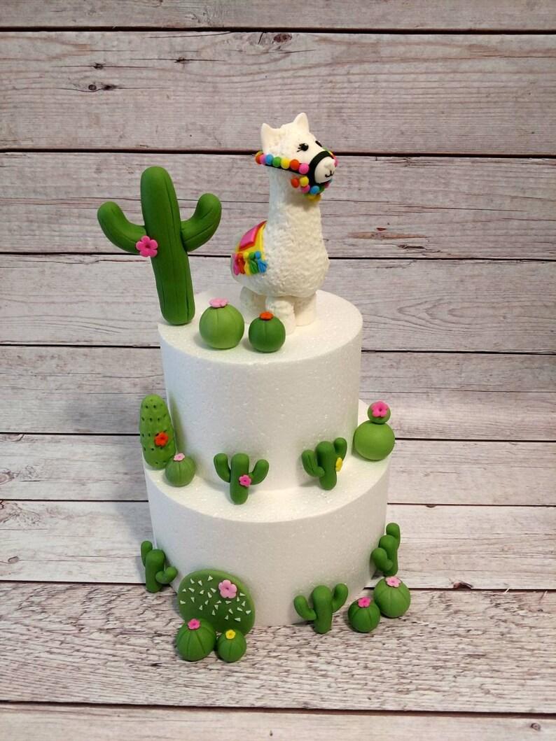 Fondant Llama and Cactus Cake Toppers Llama Cake Topper | Etsy