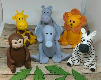 Fondant Safari Animals Cake Toppers- Fondant Animals Fondant Jungle Animals- Fondant Zebra Giraffe Lion Monkey Hippo Elephant - Safar Party