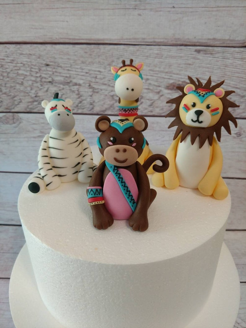 Fondant Tribal Safari Animals Cake Toppers Jungle