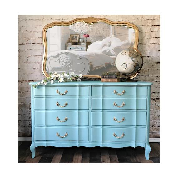 SOLD** painted robin egg blue French provincial bedroom set