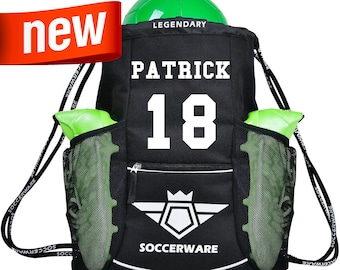 Soccer Bag Backpack - Personalized  | XL Capacity | Fits Soccer Ball, Shoes, Shin Guards | Kids Boys & Girls | Washable
