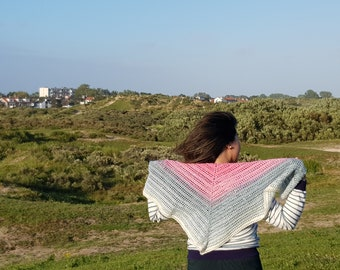 Finished Triangle Shawl, Hand Crocheted, Crochet Wrap, Shawl For Neck and Body