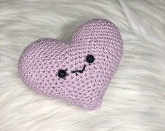 Crocheted Kawaii Heart, Pink/Purple Heart Amigurumi Plushies Toy