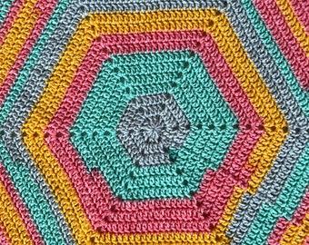 Hexagon Crochet Baby Blanket, Acrylic Blanket, Rainbow Colors, Rainbow Baby Blanket