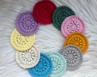 Crocheted Face Scrubbies, 100% Cotton, Eco Friendly Reusable, Facial Rounds Make Up Pads, Facial Cloths, Handmade Crochet, Set of 5 or 3