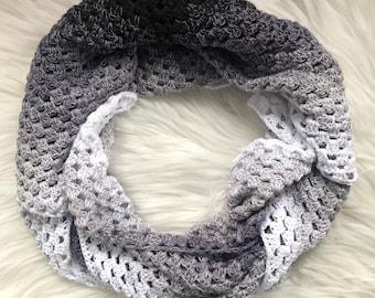 Finished Handmade Crochet Shawl, Black, Grey, White Ombre Wrap, Cotton Yarn, Triangle Shawl