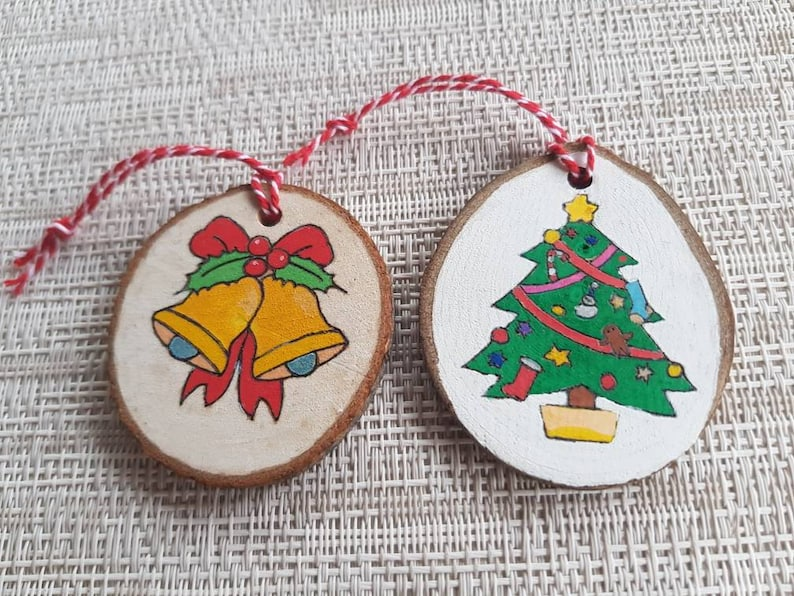 Woodburned Christmas Ornaments set of 2 image 0