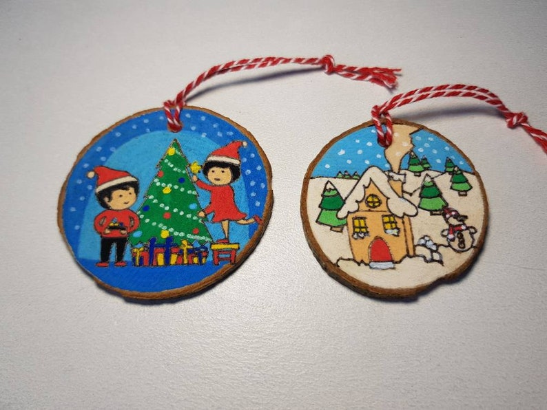 Woodburned Christmas Ornaments set of 2 image 0