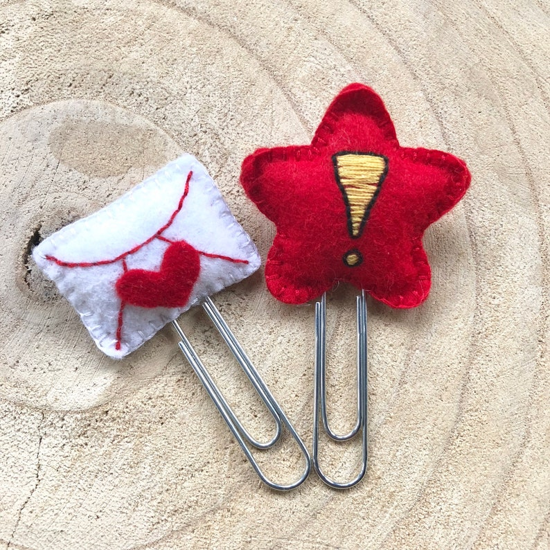 Mail and Star Handmade Paper Clips Hand Embroiderd Set of 2 image 0