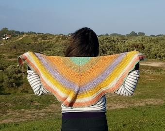Finished Hand Crocheted Rainbow Glitter Shawl, Crochet Big Shawl Wrap, Handmade Triangle Shawl,