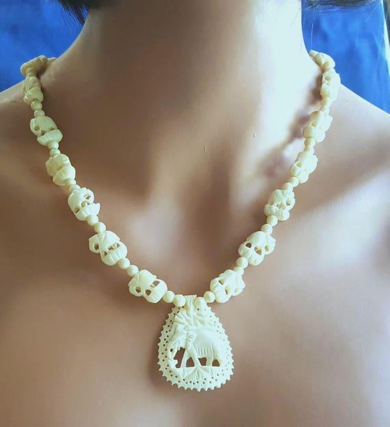 Bone Carved Elephant Necklace Ivory Style Tribal Necklace Etsy