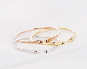 Stacking Ring, Open Band Ring, Personalized Ring, custom Initial Ring, dainty ring, Personalized Jewelry, Gift for Women, Mother's Day Gift