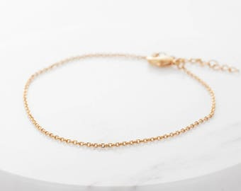 Gold  Chain Bracelet, Dainty Cable Chain Bracelet, Silver Bracelet, Rose Gold Chain Bracelet, Layering Bracelet, Gift for Woman