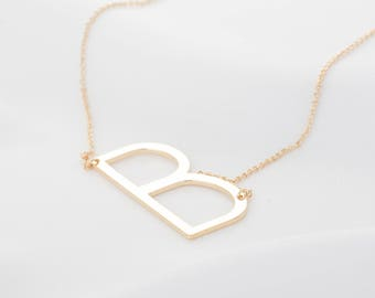 Gold Large Letter Necklace, Oversized Silver Initial Necklace, Rose Gold Sideways Initial Necklace, Side Letter Pendant Necklace, Gift