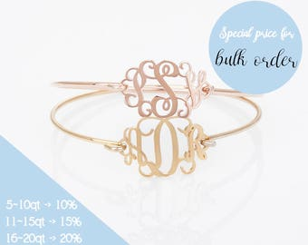 Monogram Bangle, Custom Monogram Bracelet, Personalized Name Bracelet , Bridesmaid Gift, Wedding Gift, Mom Gift