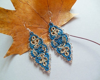 Turquoise tatting lace earrings, tatted lace jewelry,  turquoise gold earrings, tatted drop earring, jewelry tatting, filigree lace,